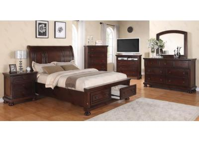 Portland Queen Storage Bed, Dresser, Mirror, Chest, 2 Nightstands